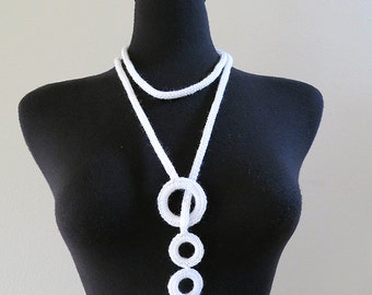 White Color Statement Cord Statement Necklace Pendant Lariat with Crocheted Bead and Rings