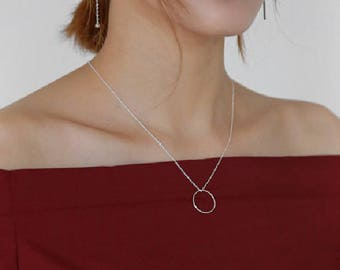 Circle Necklace, Sterling Silver, Circle Pendants Necklace, Silver Chain Necklace, Simple Necklace, Everyday Necklace, Handmade, XIEandCO