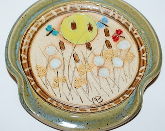 Pottery Spoon Rest Ceramic Stoneware Dragonflies In The Sun