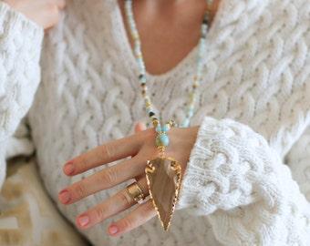Arrowhead Pendant on Amazonite Beaded Necklace - Agate Arrowhead Necklace - Long Arrowhead Beaded Necklace