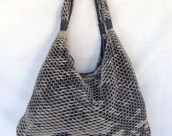 Stylish Leather Hobo Bag Grey Black Tote Boho Large Special OLA Olaccessories FREE SHIPPING