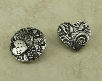 2 TierraCast Dulce Vida Amor Heart Button Mix Pack Flower Swirl Pattern Love Texture Antiqued Pewter Silver Lead Free I ship Internationally