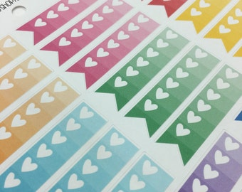 Rainbow Heart Pennant Banner planner Stickers for Erin Conden, Plum Paper, Lime Life or other planners