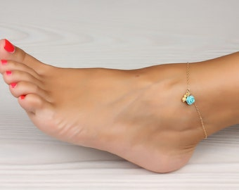 Flower Anklet / Beach Wedding jewelry / Turquoise Rose Gold / Boho Anklet / Foot Jewelry / Discount jewelry / Birthday Gift /Flower |Aigle