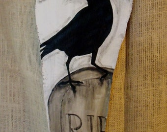 Black Raven-Black Crow...Unique Vintage Style Halloween Banner Painted JUST for YOU