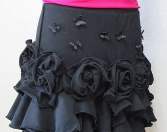 Lovely special rose decoration in black color skirt or tube dress in seaweed style decoration for your plus made in USA (VN115)