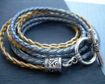 Womens Triple Wrap Leather Bracelet, Womens Jewelry, Womens Bracelet, Metallic Gold, Womens Gift, Wrap Bracelet, Gift for Her