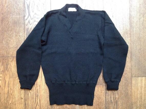 "Vintage 1950s 50s 1960s 60s New Era sportswear black 100% virgin wool long rib v neck sweater jumper pull over varsity Ivy League style 38"""