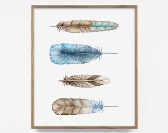 feather print, watercolor feather print, watercolor print, watercolor feather art, feather wall print, feather wall art, blue feather print