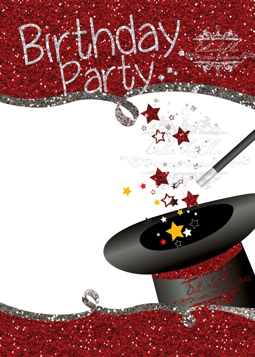 Magic Birthday Party Invitation Blank Downloadable from