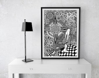Black and white Poster, Trippy Poster Print, Psychedelic Poster, Erotic Poster, poster print, erotic art, nudity art, psychedelic wall art