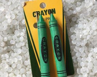 Vintage barrette,  green  crayons, vintage bobby pins