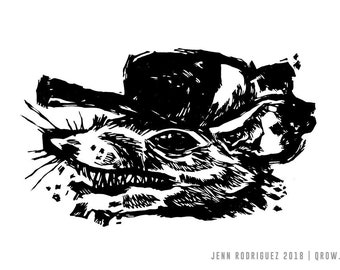 "Hand-pulled Linocut - ""Opossum"""