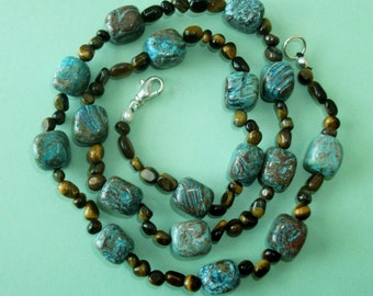 Gemstone Jewelry Necklace - Blue Sky Jasper and Tiger Eye Gemstone Beaded Necklace