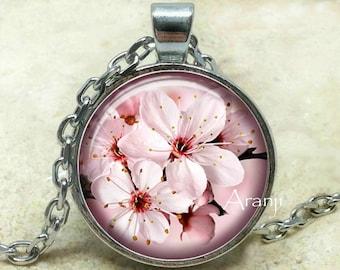 Pink cherry blossom art pendant, sakura pendant, pink cherry blossom necklace, sakura necklace, pink sakura pendant, sakura, Pendant #PL164P