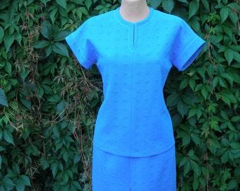 2 Piece Skirt Suit / Skirt Suit Vintage / Ultramarine / Blue Skirt Suit / Size EUR38 / UK10
