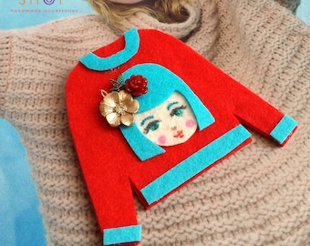 Felt art brooch, Girl brooch,Face brooch, Flower girl face pins, tshirt pins,Girl face sweater,cute girl face pins, Red sweater, Felt pins