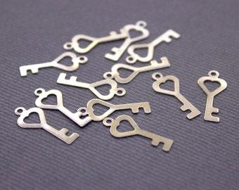 25 pcs Silver Brass Key Charms | Key Pendant, Silver Key Pendant, Key Jewelry, Small Key Charms, Raw Brass Key, Raw Brass Silver