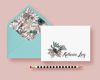 Traditional Floral With Geometric Twist Stationery—Personalized Notes—Custom Note Cards—Birthday Gift—Printable or Printed—FREE SHIPPING