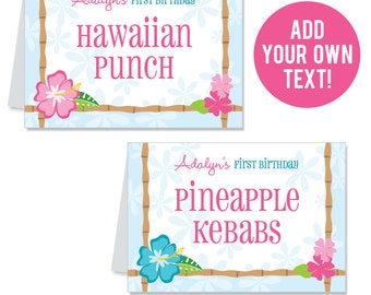 EDITABLE INSTANT DOWNLOAD Luau Party Buffet Cards - Editable, printable table tent cards