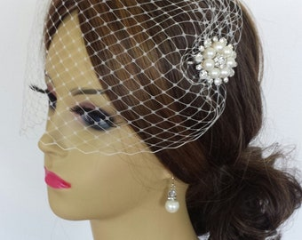 """IVORY BIRDCAGE VEIL With Your Choice Of Embellishment plus Rhinestone Hairpin - 2 Sizes and 4 Colors Available - """"Susie"""""""