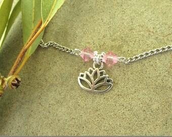 Ankle bracelet anklet lotus ankle bracelet lotus anklet vegan ankle bracelet charm anklet grunge anklet boho anklet hippie beach gift.