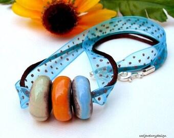 Pastel Porcelain Boho Beaded Necklace, Boho Large Hole Beaded Necklace, For Her Under 75, Girlfriend Gift