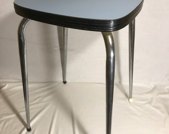 Old Metal compass + Formica Vintage 70s blue foot stool