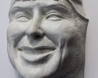 Ceramic Sculpture Giant Laughing Face Wall Piece Garden Art Smile Head Portrait