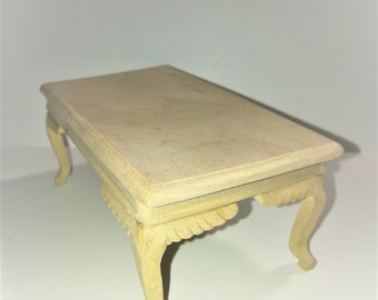 Dollhouse Miniature Large Unfinished Kitchen or Dining Room Table 1:12 Scale Furniture