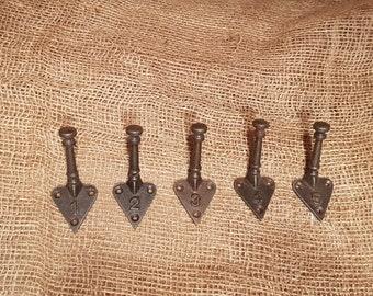 Numbered Set 1-5 Cast Iron Tri Hooks