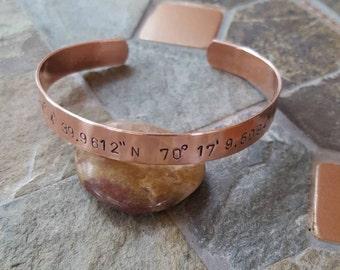 Latitude & Longitude Copper Cuff - Hand Stamped 3/8 Inch Copper Cuff Bracelet - GPS Coordinates