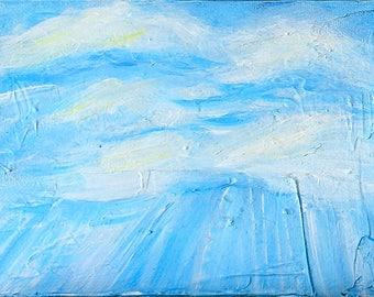Rays of Sunlight Blue Sky III, original acrylic painting on canvas, 7 x 5