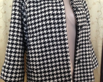 Banana Republic dogstooth houndstooth wool swing jacket S