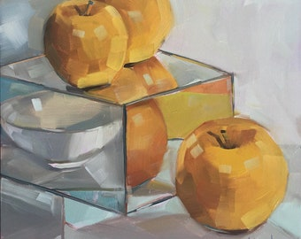 Opal Apples by Bridget Hobson, Original Oil Painting, 8x8 inches, free domestic shipping