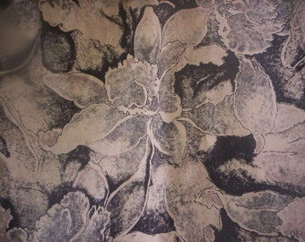 Canvas fabric/Cotton canvas fabric/Cotton fabric/Medium weight fabric/Floral fabric/Fall fabric/Fabric/Holiday sewing/Black and beige fabric