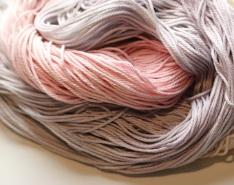 Lilac & Delicate DK weight hand dyed pima cotton yarn