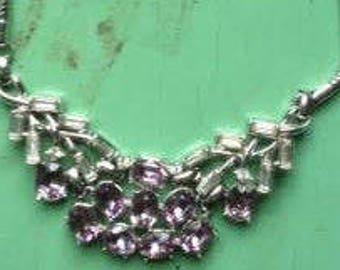 SALE Trifari Purple Lavendar Rhinestone Necklace Silver Plate