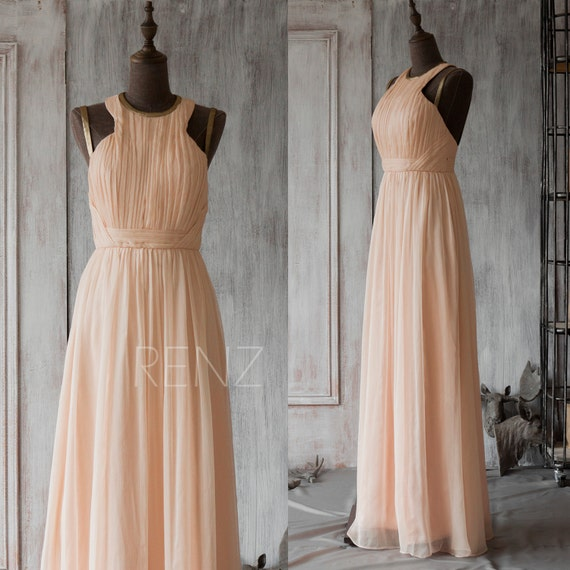 Bridesmaid Dress Peach Chiffon DressWedding DressBackless