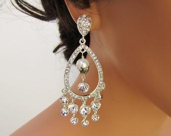 Bridal chandelier earrings, wedding statement earrings, large rhinestone dangle earrings, cz with sterling silver posts - Angelina