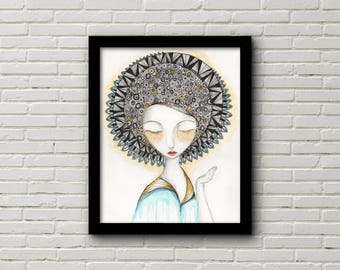 Illustration Meditation  Lady Art print, 8x10,
