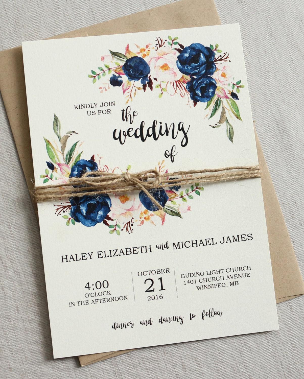 Rustic Navy Wedding Invitation Printable Modern Bohemian