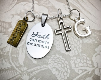 Faith Necklace, Unisex Inspirational Necklace, Faith Necklace, Believe Charm, Believe Necklace, Hollow Resurrection Cross, Faith Jewelry