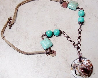 Lamp Work Glass Pendant Necklace - Faux Sued Cord Necklace - Turquoise Bead Necklace - Antique Copper Chain Necklace - Rustic - Southwestern