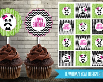 Girl Panda Bear Birthday Cupcake Topper Instant Download Printable