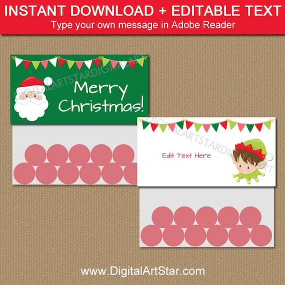 Christmas Bag Labels Santa Bag Topper Template Christmas