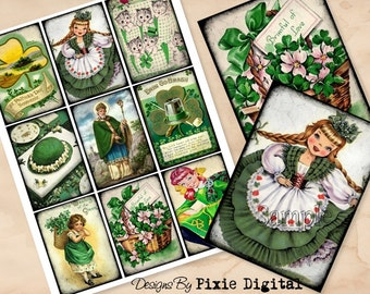 ST PATRICKS DAY Digital Collage Sheet Download Printable Clipart Gift Hang Tags Victorian Card atc Scrapbooking Vintage Retro Shabby Images