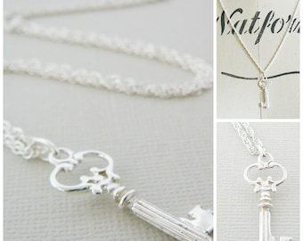 Key Pendant Necklace, Short Ribbed Key, Sterling Silver,