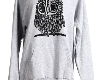 Owl On Heather Grey Hoodie s, m, l, xl, xxl
