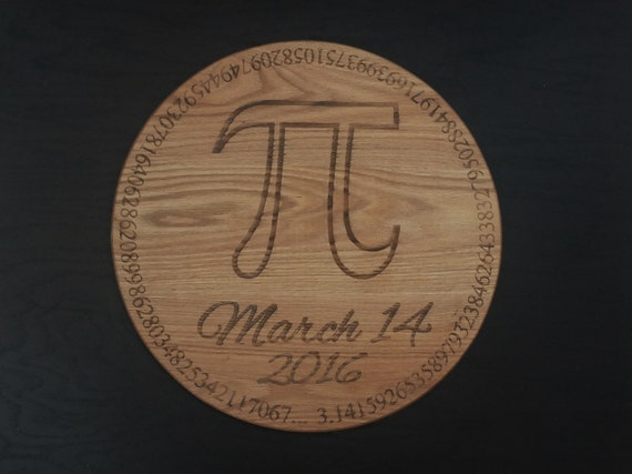 Pi Day engraved cutting board or serving board. Great math themed pie server, great idea for a geek gift, graduation gift or teachers gift!